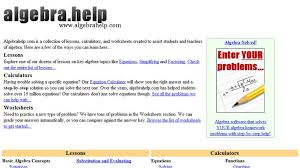 algebra help algebrahelp com a collection of lessons algebra help algebrahelp com a collection of lessons calculators and worksheets created to assist students lessons cover key algebra