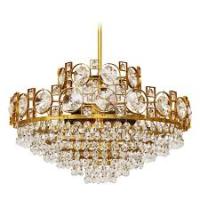 gilt brass sciolari style crystal glass chandelier or flush mount italy 1960s for