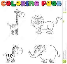 Cartoon Safari Animalg Pages Animals Preschool Colouring Afri On