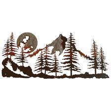 on rustic outdoor metal wall art with mountain scene at black forest decor