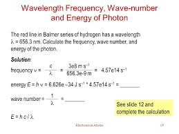 wavelength frequency wave number and energy of photon