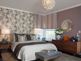bedroom: Minimalist Bedroom Design Idea Using Unique Floral Accents Wall  Print And Lovable Master Bed
