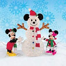 Disney Christmas Decorations | Mickey \u0026 Minnie Mouse with Snowman Indoor / Outdoor Holiday Decor. 245 Lights! Ornaments Your Yard or Home By the Tree!: