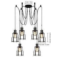 How To Make A Light Fixture With Multiple Bulbs Amazon Com Modeen Vintage Six Heads Ceiling Lamp Hanging