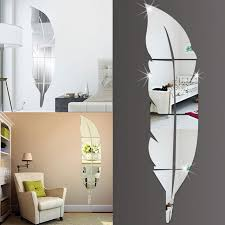 diy modern feather acrylic mirror wall sticker home decor room