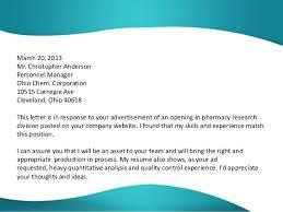 Free Sample Cover Letter Pharmaceutical