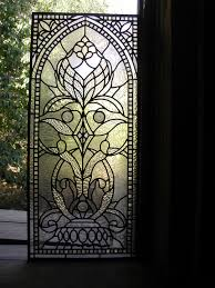 leaded clear textured glass and jewels bathroom privacy window