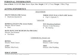 Example Acting Resume Acting Resume Sample X Acting Resume Example