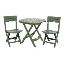 adams manufacturing quikfold sage 3piece resin plastic outdoor bistro cafe set plastic patio furniture sets e53