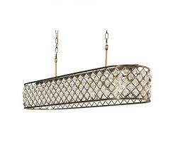 cassiel 40 inch rectangular crystal chandelier antique brass