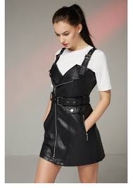 fitaylor new autumn leather overall dress women soft pu faux leather dresses y turn down