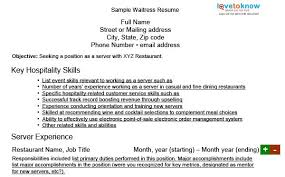 sample waitress resume