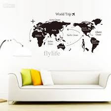 Wall Decor Sticker Large Black World Map Wall Decals And Decor Stickers For Living