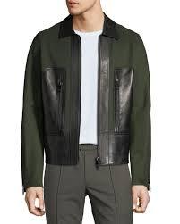 valentino men s long sleeve wool blend leather panel jacket in dark green