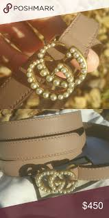 Leather Belt With Pearl Double G Buckle New With Dust Bag
