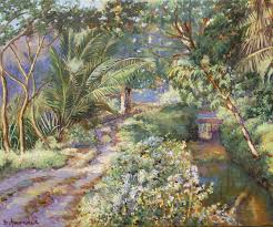spring time in south india oil painting india landscape jungle path