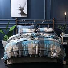 cotton soft bed set king queen plaid stripe bedding blue green brown duvet cover sheet pillowcase