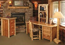 rustic desk home office. Country Design Of Rustic Office Desk With Stone Fireplace And Floor Light Home U