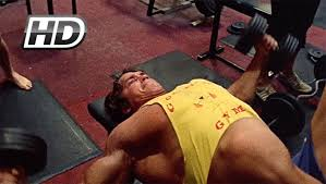 rare fooe of arnold schwarzenegger training chest shoulders you