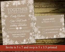Rustic Winter Wedding Invitations Rustic Snowflake Winter Wedding Invitations With Lace Snowflakes On