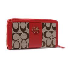 Coach Legacy Accordion Zip In Signature Large Brown Khaki Wallets EGO.   29.99 198.00. Coach Zippy In Signature Large Red Wallets BLS