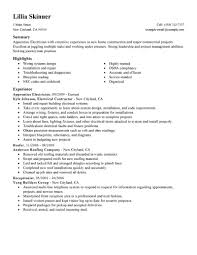 Resume Example 38 Electrician Resume Objective Electrician
