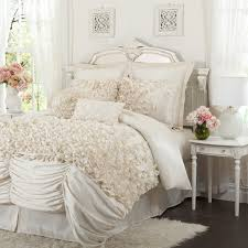 ruched ruffle ivory white bedding 4 pc queen king comforter set