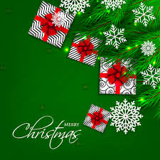 Merry Christmas And Happy New Year Card Green Fir Wreath Gift Box Snowflake Vector Illustration Floral Background