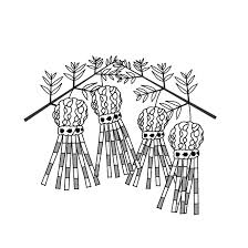 かわいい 七夕 飾り白黒の無料 イラスト 商用フリー無料の