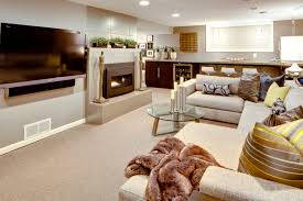 Split Level Kitchen Designs Modern Basement Remodeling Idea With Beige Sectional Sofa And
