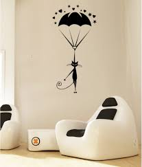 Small Picture Hoopoe Decor Cat Landing With Parachute Wall Arts Wall Stickers