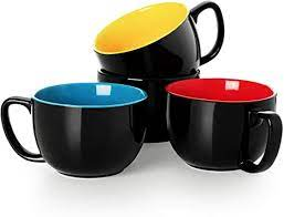 These are some of our favorite glass coffee mugs with handles, without handles, and with double. Amazon Com Black Multi Color Porcelain Jumbo Coffee Mugs Set Of 4 16 Ounce Cups With Handle For Hot Or Cold Drinks Like Cocoa Milk Tea Or Water Smooth Ceramic With