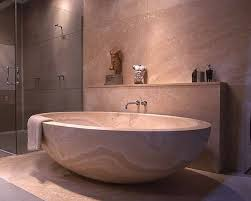 Japanese Bathroom Contemporary Design with Glass Shower Stall and Large  Round Soaking Tub