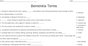 For example, if they tend to put things in their mouth or tie up. Dementia Terms Worksheet Wordmint