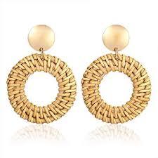 Rattan Earrings for Girls Hand-woven Straw Earring ... - Amazon.com