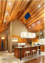 recessed light for vaulted ceiling kitchen with wooden vaulted ceiling and recessed lights and hanging lighting