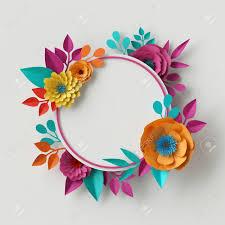 Paper Flower Frame 3d Render Digital Illustration Vivid Paper Flowers Round Floral