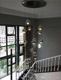 modern hotel stairway 1 4m extra long lamps fishing hanging suspension light cube glass e27 led lamp fixture spiral pendant lights ship chandelier cage