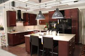 ikea lighting kitchen. L Shape Kitchen Decoration Using Red Cherry Wood Ikea Cabinet Including Dome Light Lighting