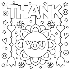 Thank You Coloring Page Black And White Vector Illustration Stock