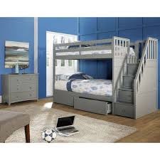 Barrett Twin Over Twin Wood Bunk Bed with Storage, Grey Finish