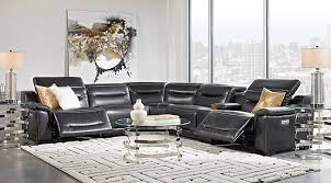 sectional couches with recliners. Sofia Vergara Gallia Black Leather 6 Pc Power Plus Reclining Sectional Couches With Recliners