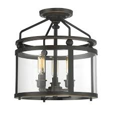 quoizel norfolk 11 87 in w oil rubbed bronze clear glass semi flush mount light
