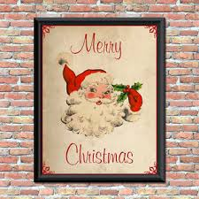 vintage santa art print merry christmas antique style primitive on primitive christmas wall art with shop primitive wall decor on wanelo