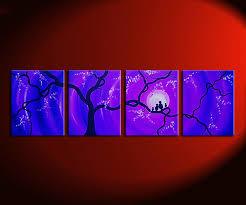 huge bird family painting purple blue large wall art love birds cherry blossoms 64x20 custom personalized on personalized love birds wall art with huge bird family painting purple blue large wall art love birds