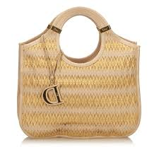 dior woven leather tote totes leather other brown beige golden ref 89566