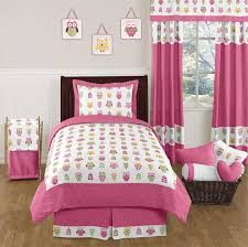 pink happy owl childrens bedding 4 pc twin set by sweet jojo designs only 119 99