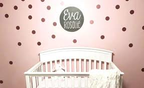pink and white nursery with rose gold polka dot wall decals project