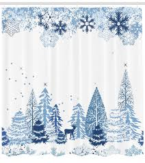 <b>Winter</b> Forest <b>Snow</b> Tree with Christmas Lights Animal Shower ...