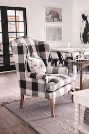 Black and white chairs living room Interior The Easiest Way To Reupholster An Armchair Decoist Our Farmhouse Living Room Makeover Our Buffalo Check Chair Love